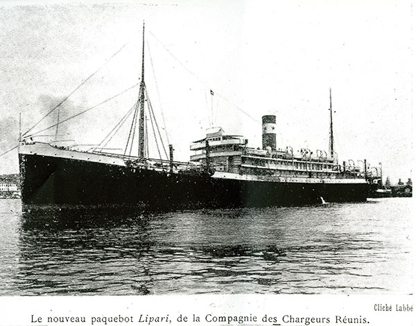 The steamship Lipari on which Janine's family escaped from Marseille to Casablanca -- the last ship to get out France in 1942 before the Nazis sealed off its ports for the duration of the war.