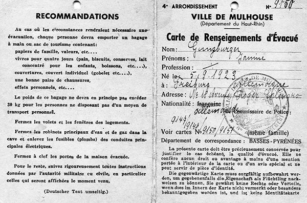 The evacuation card issued to Janine by the city of Mulhouse in 1939 in anticipation of a German invasion over the nearby border.  The French population fled en masse from border regions, but for almost a year – a period termed the Phony War – no fighting started.  Janine's family moved to Gray, a small village that was occupied by German troops after France's swift defeat in 1940, while Roland's family settled in Villefranche, a town outside of Lyon, where he attended law school.