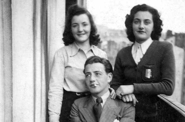 Janine (R)  poses with Trudi and Norbert  on the balcony of their Lyon apartment at 14, place Rambaud. It was in Lyon, part of the unoccupied zone, that Janine and Roland -- having first met in Alsace -- rediscovered one another, fell in love, and vowed to marry after the war.