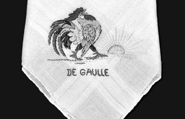 The brightly embroidered handkerchief that Roland gave to Janine at the pier in Marseille where she boarded the steamship Lipari on March 13, 1942, escaping France for Casablanca en route to Cuba.  French Resistance leader Charles de Gaulle was sentenced to death in absentia, but he organized opposition to Hitler from asylum in London.