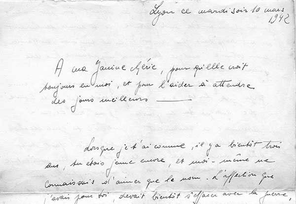 Roland's parting letter to Janine was a twelve-page declaration of love, containing vows of love and pledges to marry after the war.  It was confiscated by British officials who searched the refugee ship when it stopped in Jamaica, but she later retrieved it, waiting for her poste restante in Havana, and she treasured it always.