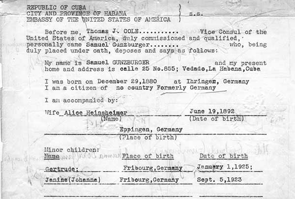 Visas to enter the United States were extremely difficult to obtain for Jewish refugees from Hitler's Europe, and only 10 percent of those technically slotted for them were ever awarded. Denationalized by the German government, Jews like Sigmar lacked passports and eventually needed affidavits like this one, dated July 19, 1943, to enter the United States.